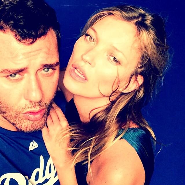 Mert Alas of Mert & Marcus has a blue moment with Kate Moss