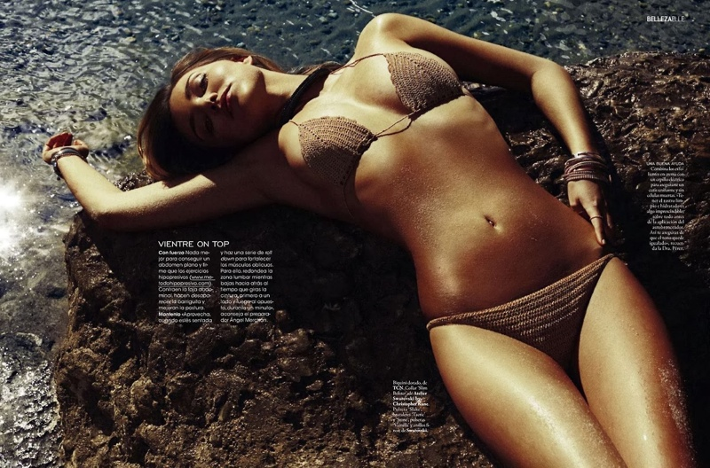 miranda kerr xavi gordo4 Miranda Kerr Models Swimsuits, Golden Tan for Elle Spain by Xavi Gordo
