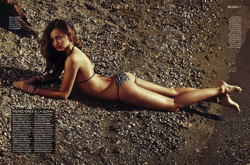 Miranda Kerr Models Swimsuits, Golden Tan for Elle Spain by Xavi Gordo