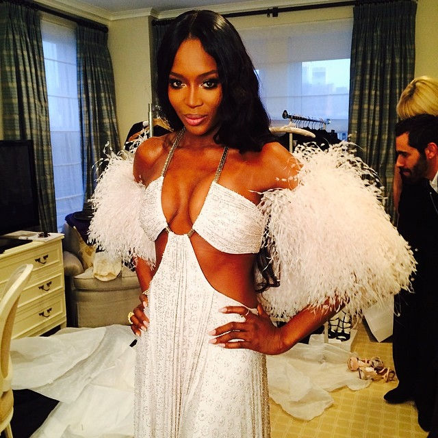 Naomi Campbell shows off her Givenchy look