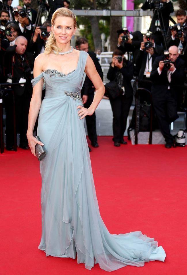 Naomi Watts wore a draped Marchesa gown in silver blue