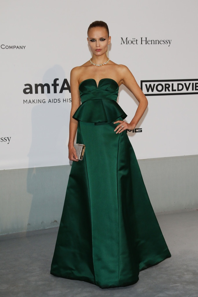 natasha poly marni dress 2014 amfAR Gala at Cannes: Jessica Chastain, Alessandra Ambrosio, Dita Von Teese & More