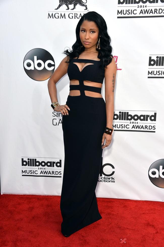 Nicki Minaj showed some skin in Alexander McQueen