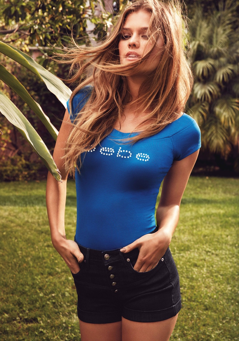 nina agdal bebe summer 2014 photos2  Nina Agdal Models Sexy Summer Styles for Bebe