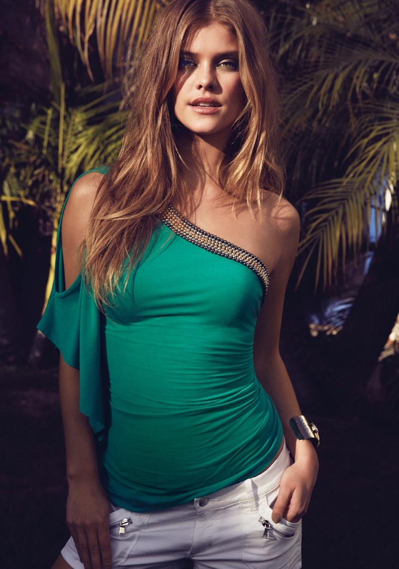 nina agdal bebe summer 2014 photos3  Nina Agdal Models Sexy Summer Styles for Bebe