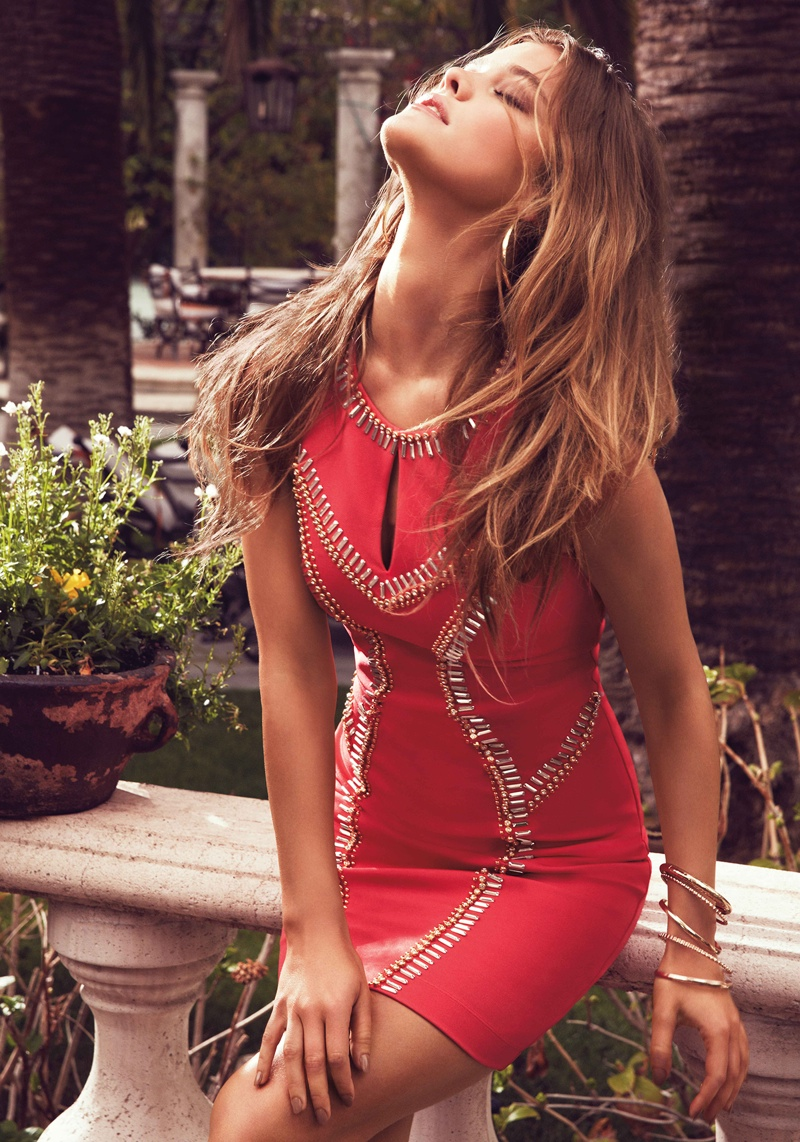 nina agdal bebe summer 2014 photos4  Nina Agdal Models Sexy Summer Styles for Bebe