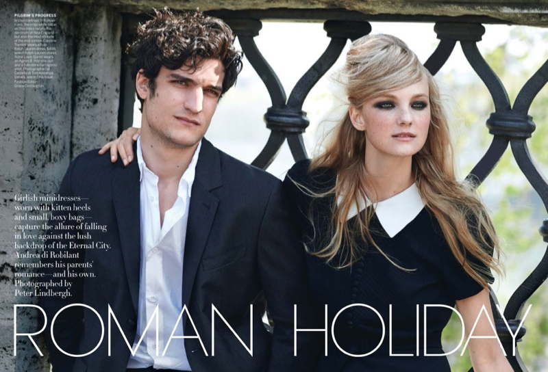 peter lindbergh roman holiday01 Caroline Trentini + Louis Garrel Get Romantic for Vogue Shoot by Peter Lindbergh