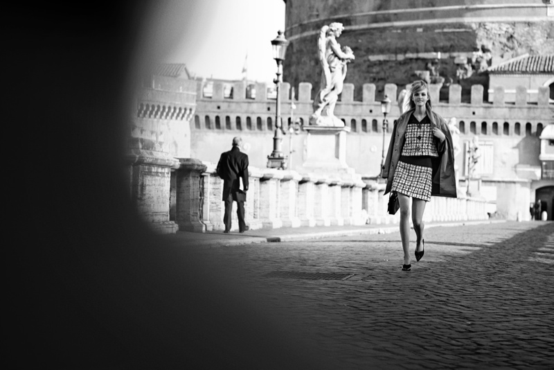 peter lindbergh roman holiday02 Caroline Trentini + Louis Garrel Get Romantic for Vogue Shoot by Peter Lindbergh