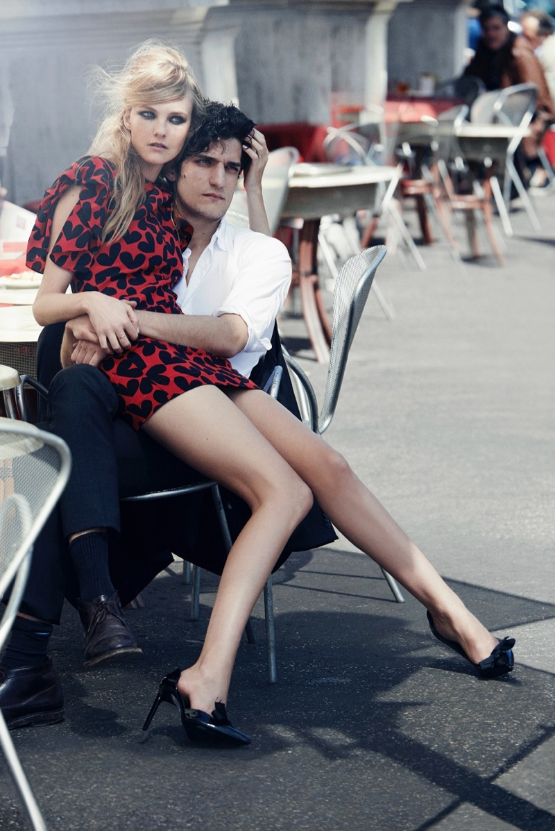 peter lindbergh roman holiday04 Caroline Trentini + Louis Garrel Get Romantic for Vogue Shoot by Peter Lindbergh