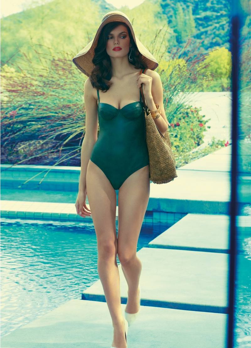 pool swimsuits diego uchitel5 Pool Style: Lauren & Megi in Retro Swim for Tatler Russia by Diego Uchitel