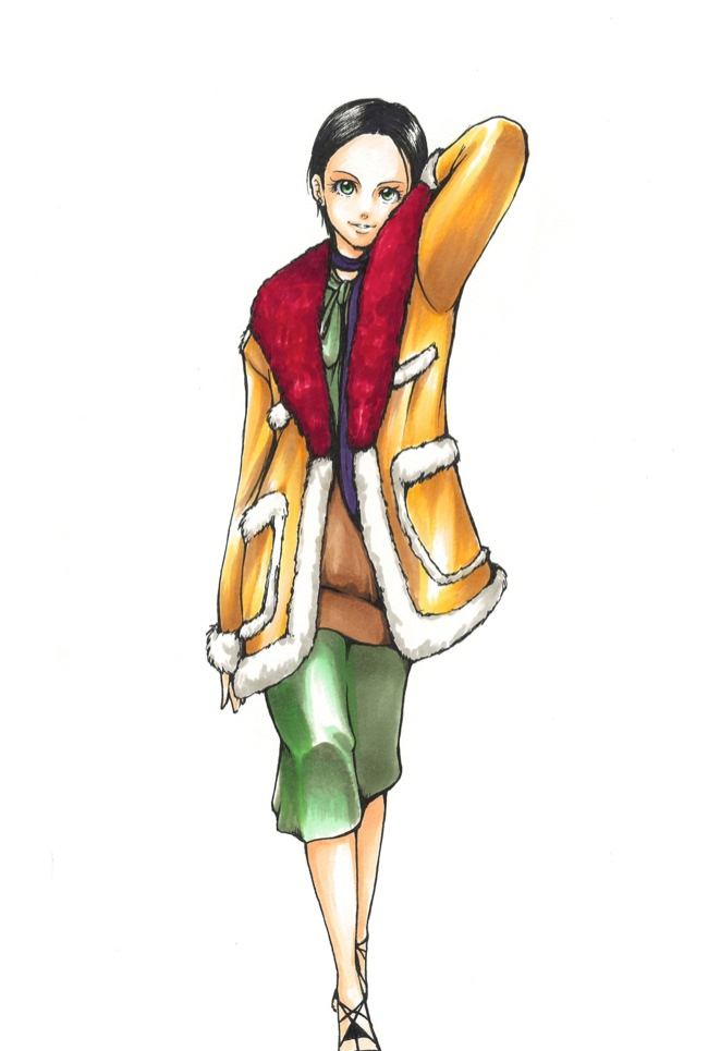 A look from Prada's fall 2014 collection drawn by Mimi. Image: i-D.