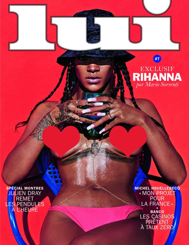 Rihanna on Lui 2014 Cover by Mario Sorrenti (censored)