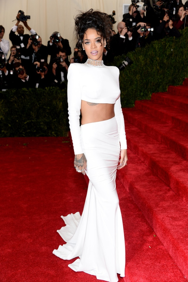 Rihanna wears crop top look from Stella McCartney