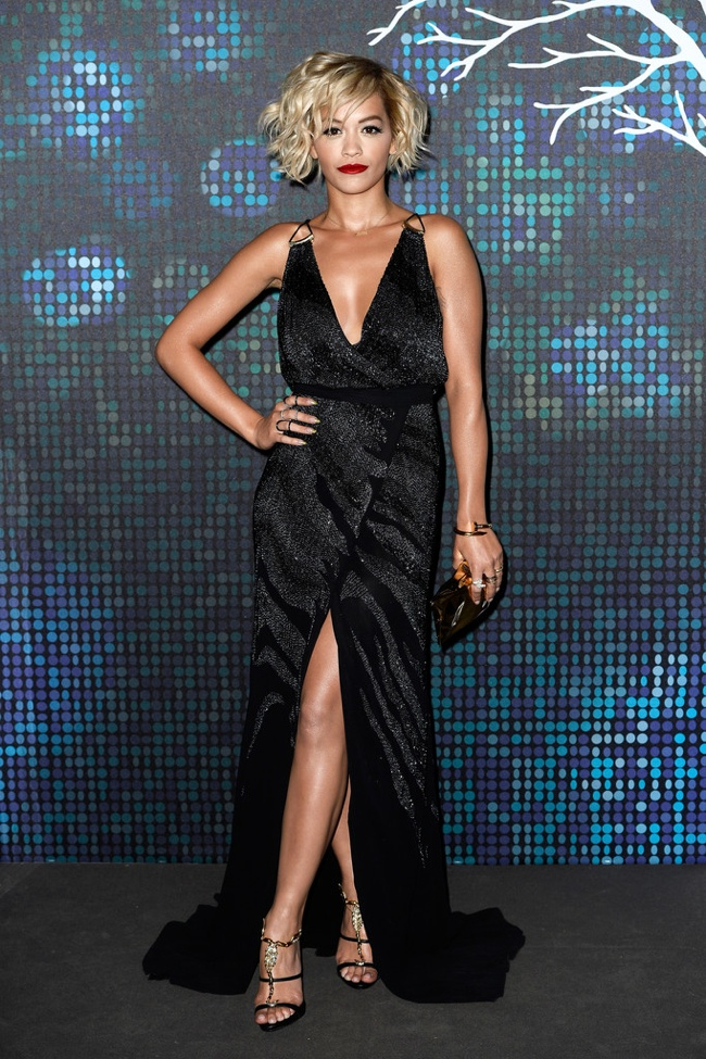 Rita Ora was spotted in a black Roberto Cavalli gown