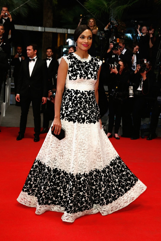 Rosario Dawson slipped into a black and white Dolce & Gabbana dress