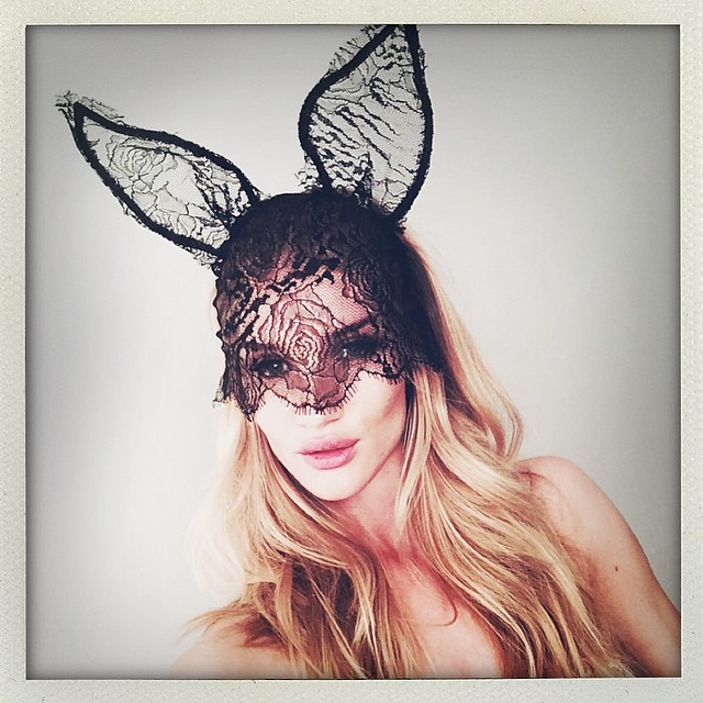 Rosie Huntington-Whiteley wears bunny ears