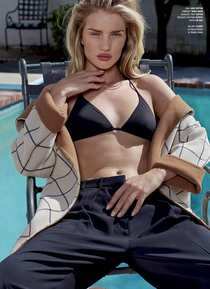 rosie huntington whiteley pants2 Rosie Huntington Whiteley Wears the Pants for Sexy V Magazine Shoot