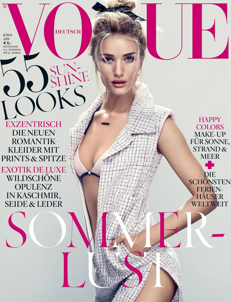 rosie huntington whiteley vogue germany cover Rosie Huntington Whiteley is Sultry in Chanel for Vogue Germany June 2014 Cover