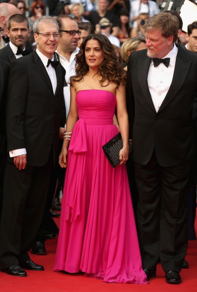 Salma Hayek wore a hot pink Saint Laurent dress