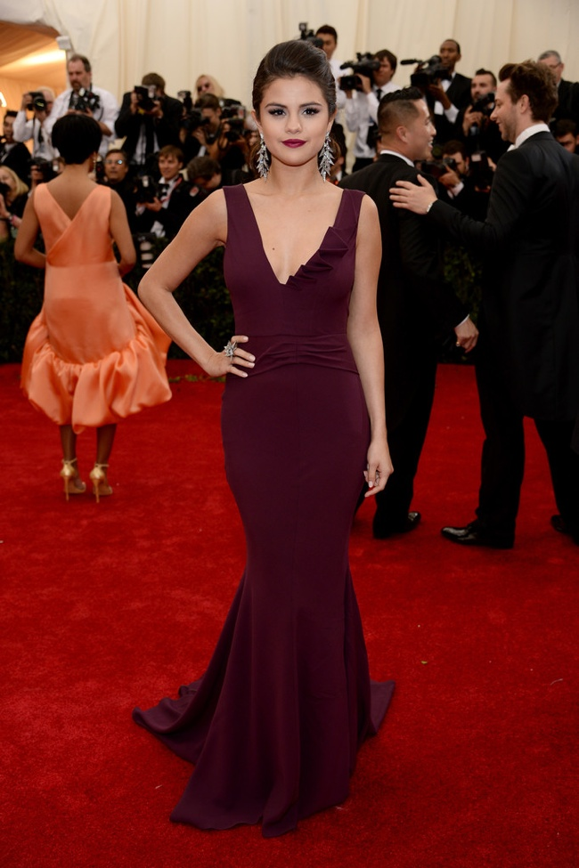 Selena Gomez wears Diane von Furstenberg plum-colored dress