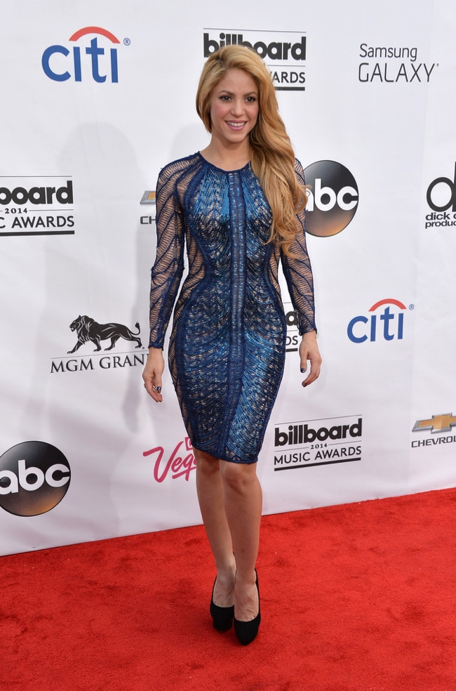 Shakira wore a form-fitting blue metallic dress to the awards