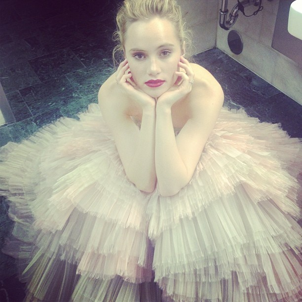 Image: Suki Waterhouse in her Met Gala Dess. Photo from Instagram.