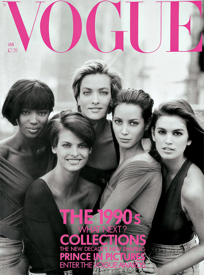 supermodel january 1990 cover vogue uk TBT | Christy Turlingtons Vogue UK Covers Throughout the Years