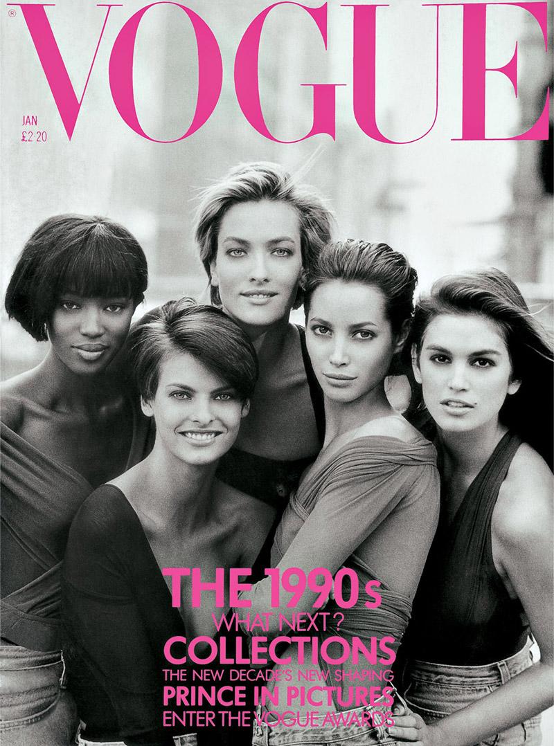 Naomi Campbell, Tatjana Patitz, Linda Evangelista, Christy Turlington and Cindy Crawford Vogue UK January 1990 Cover