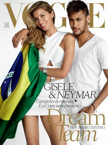Gisele Bundchen Joins Footballer Neymar for Vogue Brazil June 2014 Cover