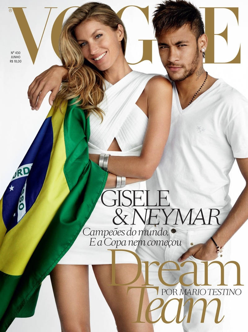 vogue brazil gisele neymar cover Gisele Bundchen Joins Footballer Neymar for Vogue Brazil June 2014 Cover