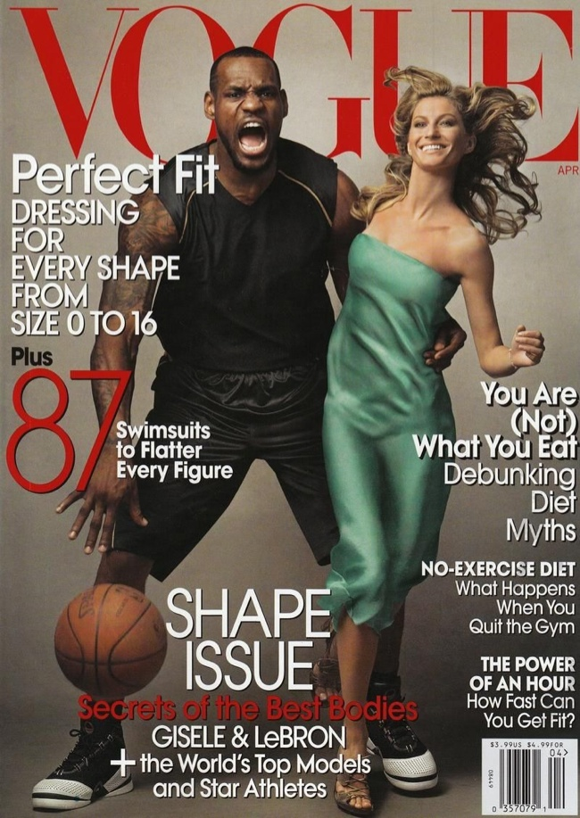 Lebron James and Gisele Bundchen on Vogue April 2008 Cover