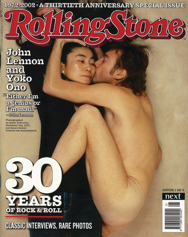 Yoko Ono and John Lennon on Rolling Stone January 1981 Cover (reprint) photographed by Annie Leibovitz