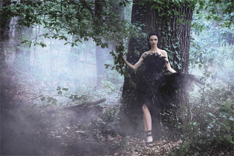 alberta ferretti fall 2014 campaign 1 Mariacarla Boscono Enters the Enchanted Forest for Alberta Ferrettis Fall 2014 Campaign