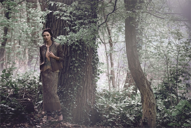 alberta ferretti fall 2014 campaign 4 Mariacarla Boscono Enters the Enchanted Forest for Alberta Ferrettis Fall 2014 Campaign
