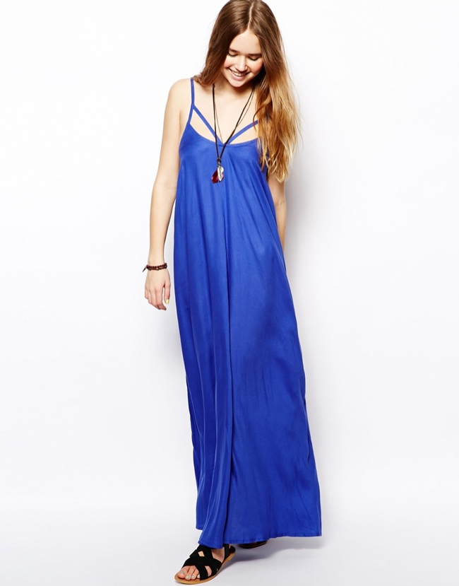 Trapeze Maxi Beach Dress in blue available at ASOS for $49.54.