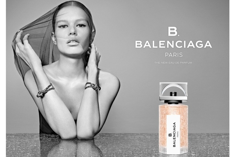 Anna Ewers fronts Balenciaga 'B' Fragrance advertisements. Wang is the current creative director of the brand.