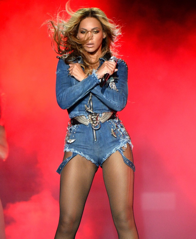 Beyonce wears costum denim by Diesel. Image: Getty/Diesel