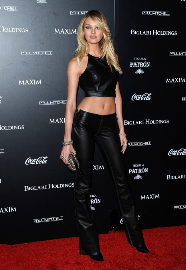 Candice Swanepoel Wows In Leather At Maxim Hot 100 Event