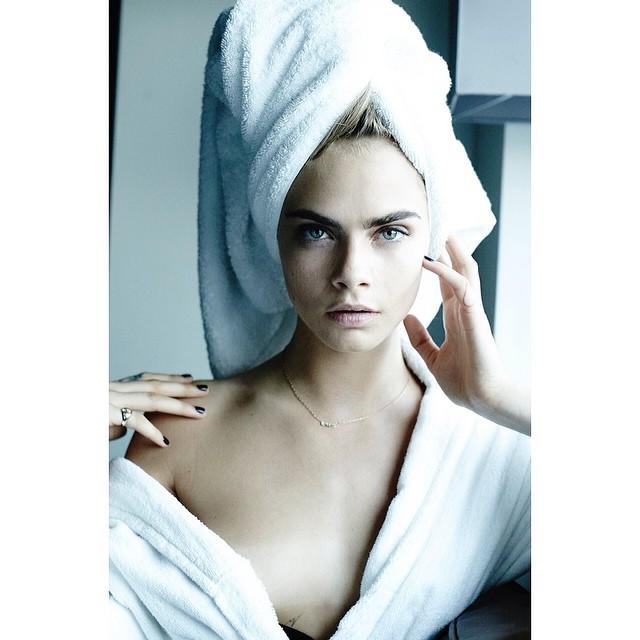 "Cara Delevingne for Mario Testino's ""Towel Series"""