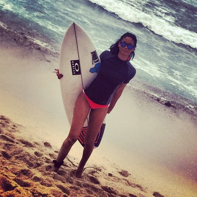 Chanel Iman gets her surf on