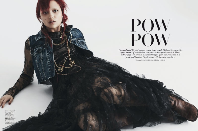 Charlotte Carey is Cowgirl Chic for L'Officiel Netherlands by Billy Kidd