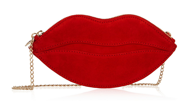 RED KISS: Charlotte Olympia Kiss Purse Suede Shoulder Bag available at Net-a-Porter for $490.00