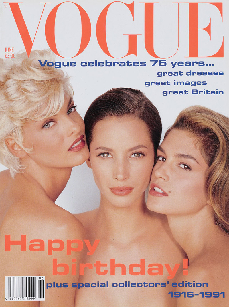 Linda Evangelista, Christy Turlington & Cindy Crawford on Vogue UK June 1991 Cover