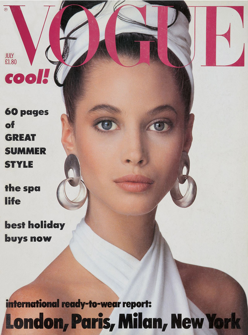 Christy Turlington on Vogue UK July 1986 Cover