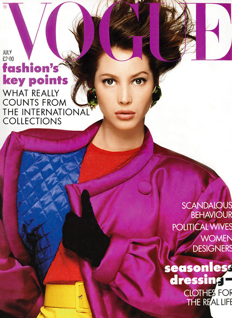 Christy Turlington on Vogue UK July 1987 Cover