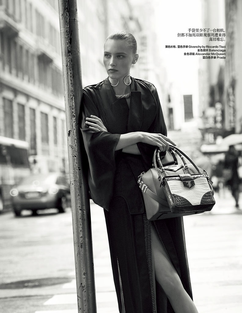 city fashion dressing6 Lonely Traveler: Mila Krasnoiarova by Jonas Bresnan for Bazaar China