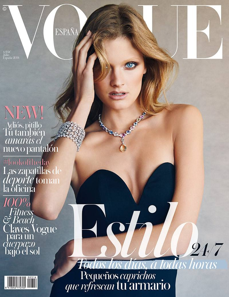 constance jablonski vogue spain cover 2014 Constance Jablonski Shines in Gems for Vogue Spain July 2014 Cover