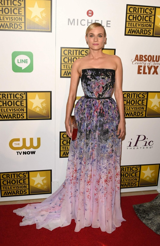 diane kruger elie saab dress1 Diane Kruger Enchants in Elie Saab Dress at the 2014 Critics' Choice Television Awards