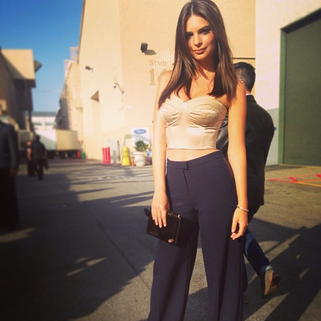Emily Ratajkowski shows off her look for the Spike Guy's Choice Awards
