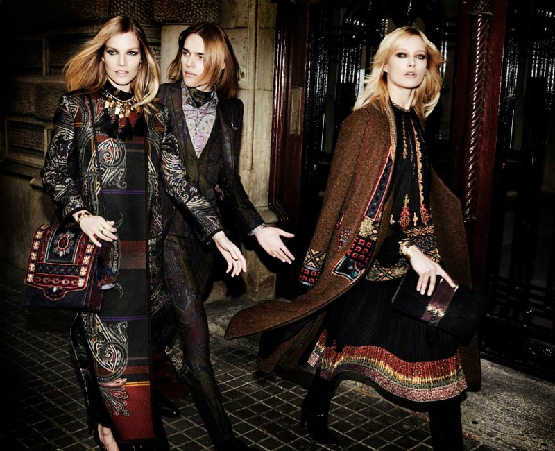 etro fall winter 2014 campaign1 Karmen Pedaru, Suvi Koponen Have a Night Out for Etros Fall 2014 Campaign
